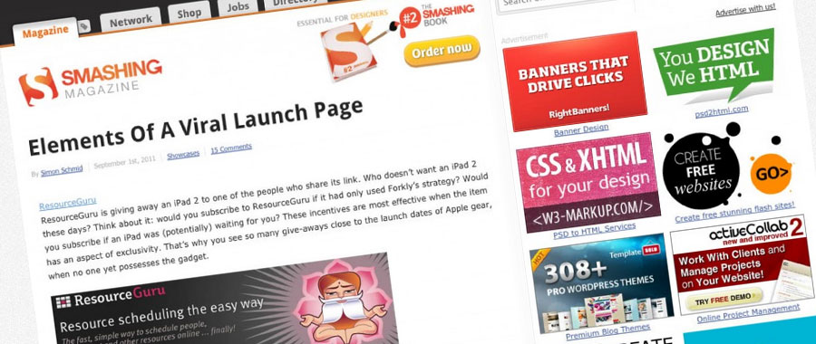 Screen capture of featured page on Smashing Magazine website