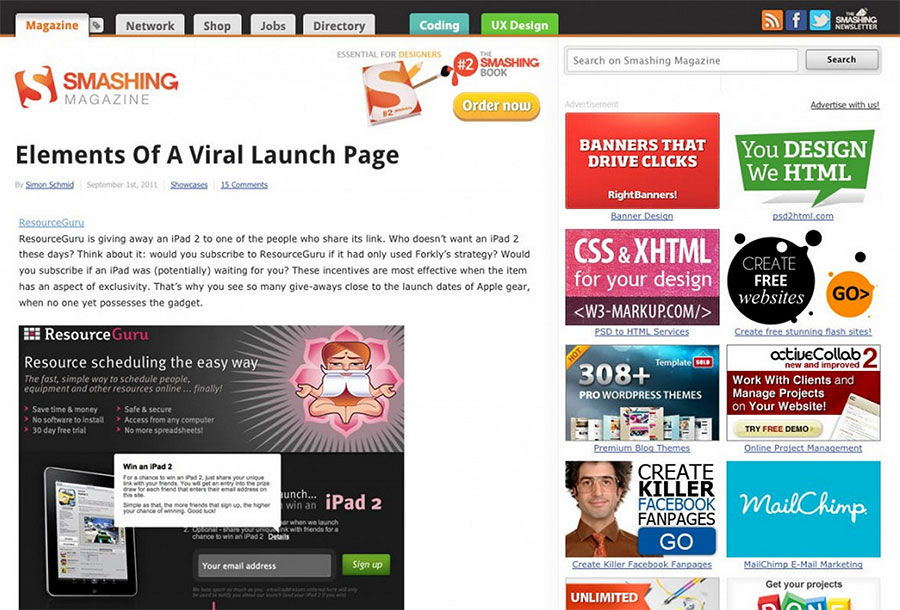 Full view of Viral Launch Page feature on Smashing Magazine