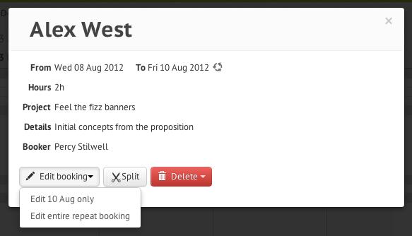 Edit repeat booking