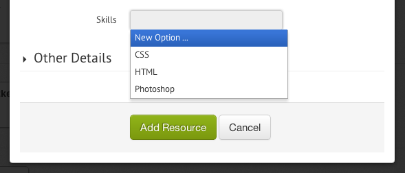 Adding a new custom field option on the fly