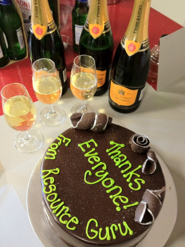 Random Act of Cake with champagne