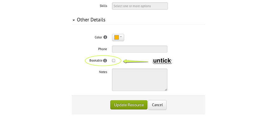 Non-bookable checkbox in Resource Guru