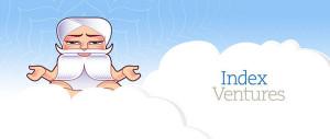 Resource Guru logo and Index Ventures logo on a cloud