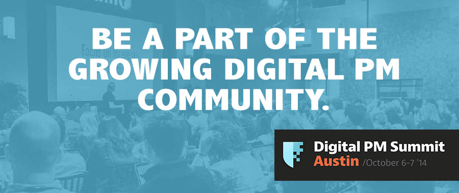 "Digital PM Summit website hero promotion - ""BE A PART OF THE GROWING DIGITAL PM COMMUNITY."""