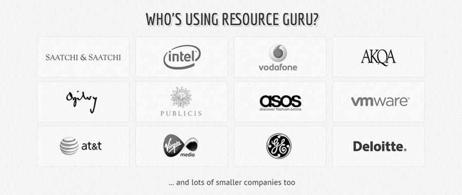 Table of customer logos - Saatchi & Saatchi, Virgin Media, AT&T, Deloitte, VMware, Ogilvy, Intel, Vodafone, GE, ASOS, AKQA, and Publicis Chemistry.