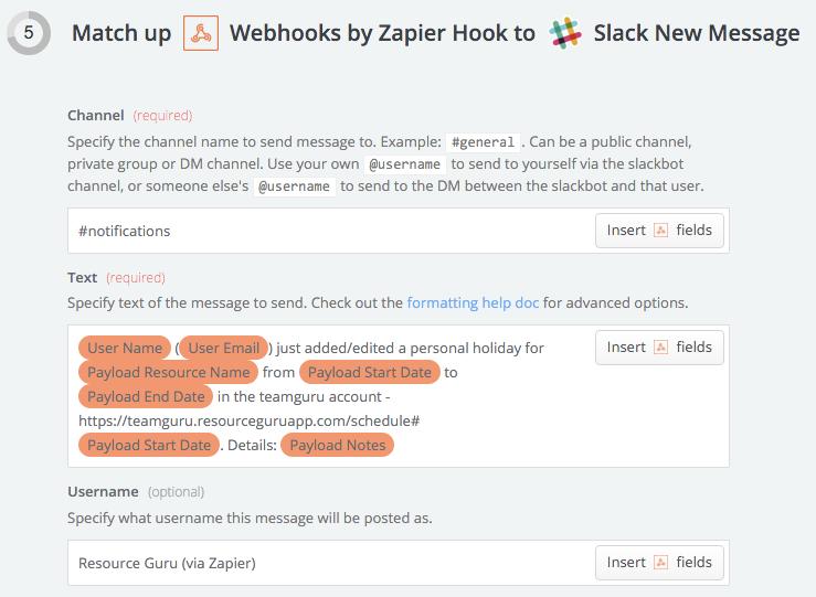 Zapier Webhook to Slack Setup