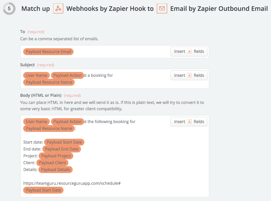 zapier webooks email setup