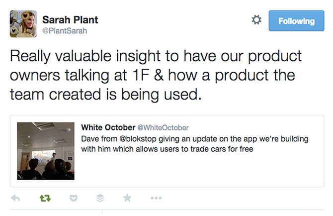 Screencapture of tweet from Sarah Plant & White October