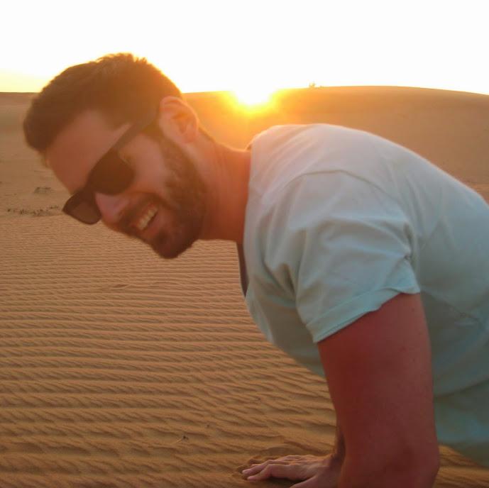 David doing pushups in the desert