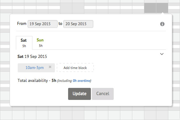 Modal for editing availability for a specified time or date