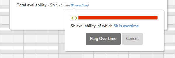 Modal featuring warning and options to handle overtime