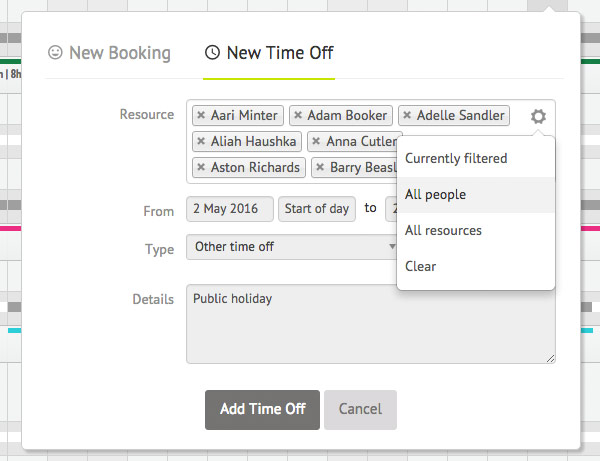 Modal of New Time Off feature for applying to multiple resources at once