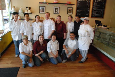 Group photo of bakers and staff at Sugar Butter Flour in Sunnyvale, California