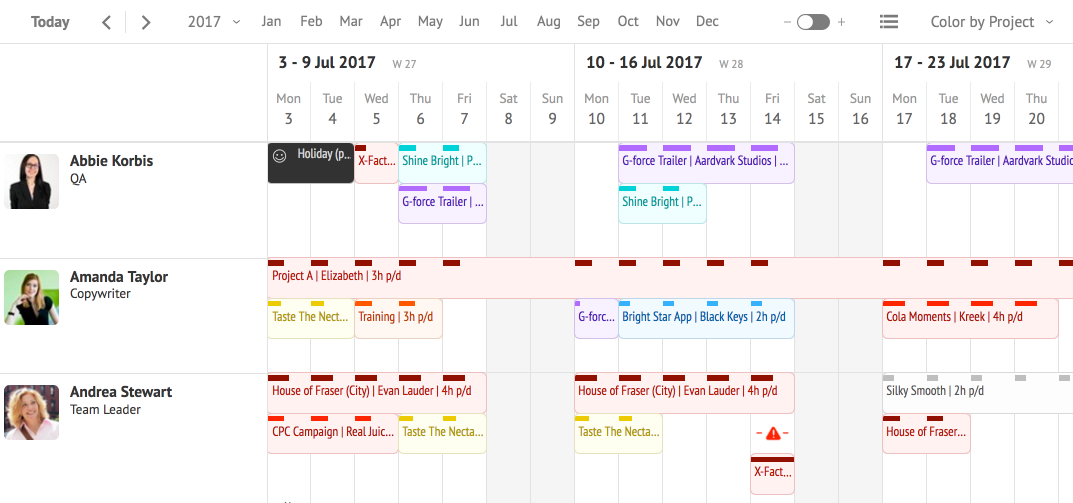Resource Guru schedule