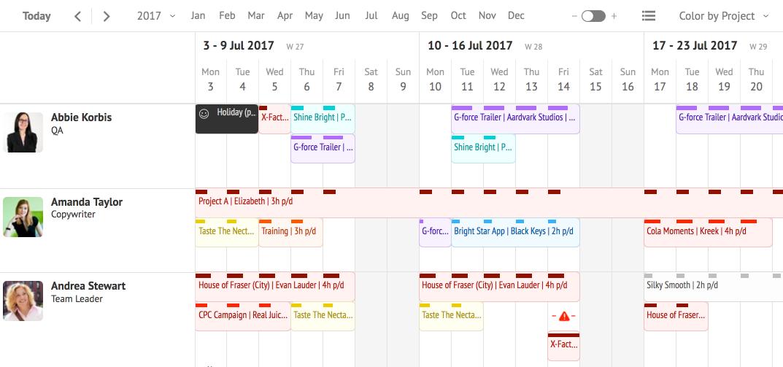 Resource Guru schedule