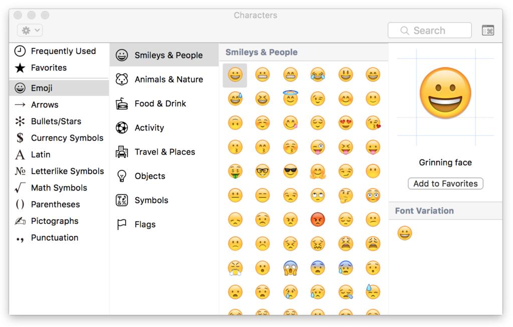 iOS character panel