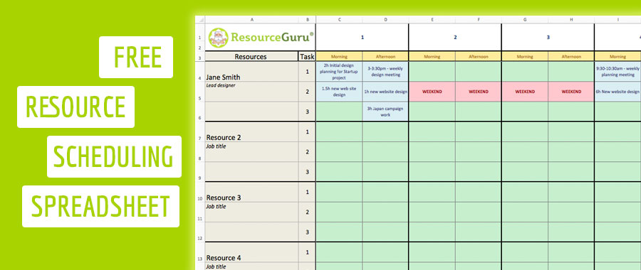 Free Resource Scheduling Template For Excel Resource Guru