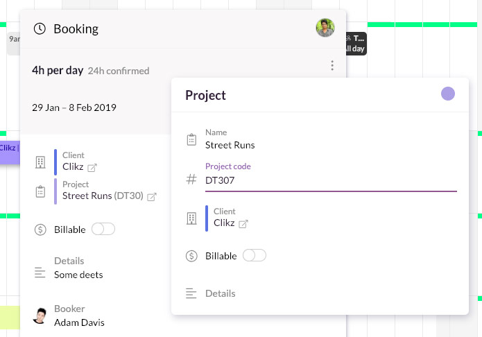edit project code in schedule