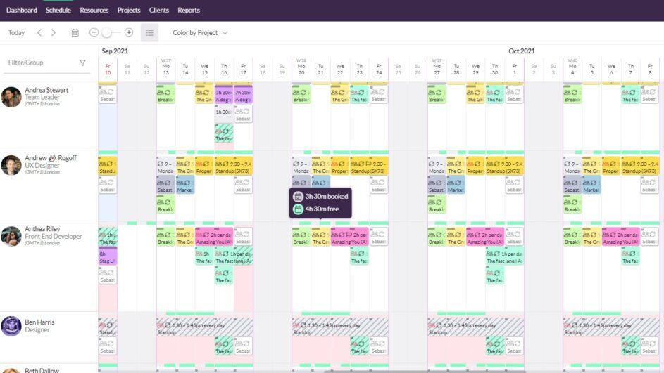 A screenshot of Resource Guru displaying resource availability