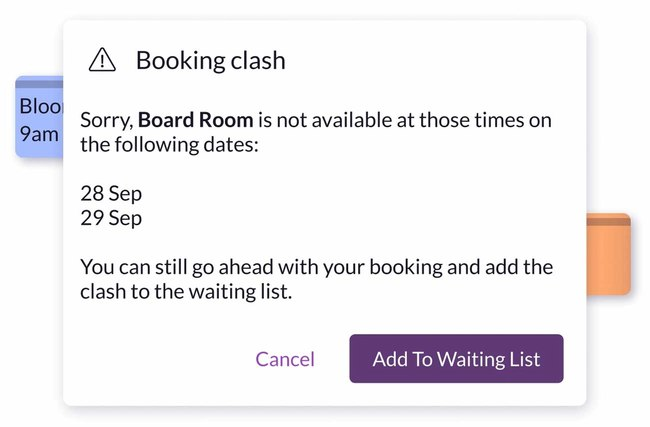 Meeting room booking clash
